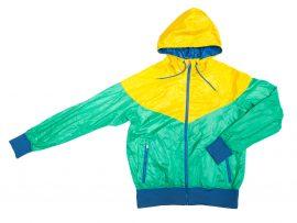 Yellow and green rain jacket