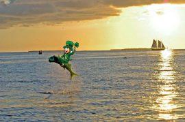 Leprechaun riding on a fish